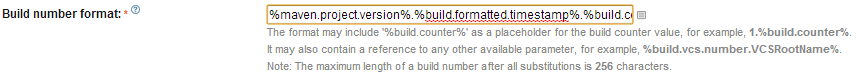 using the %build.formatted.timestamp% parameter in the build number field